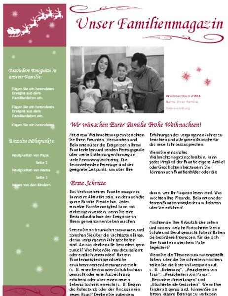 Festtagsmagazin (mit Weihnachtsmann und Rentierschlitten)