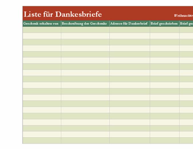 Checkliste für Dankesbriefe