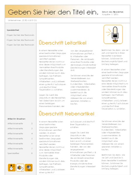 Newsletter (Design mit Elektrozubehör, 4Spalten)
