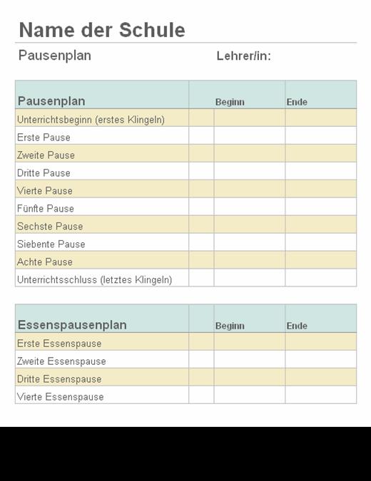Liste der Länge von Unterrichtspausen