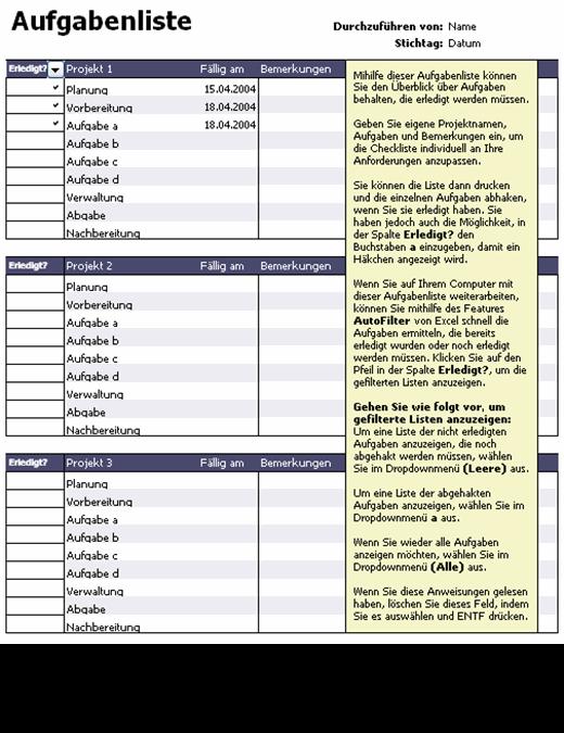 Wochentliche Aufgabenliste 4