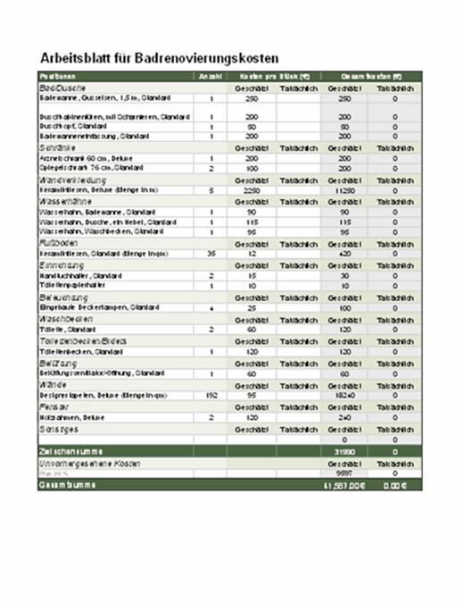 Kostenberechnung für Badrenovierung