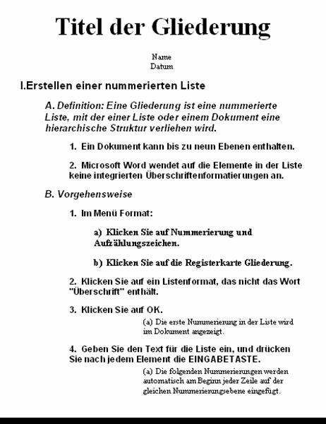 Gliederung mit fünf Ebenen und Anweisungen