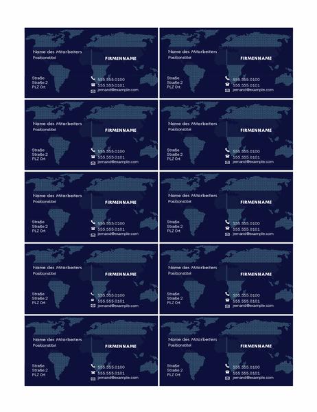 Visitenkarten mit Karte (10 pro Seite)
