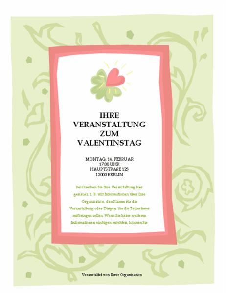 Flyer für Veranstaltung zum Valentinstag