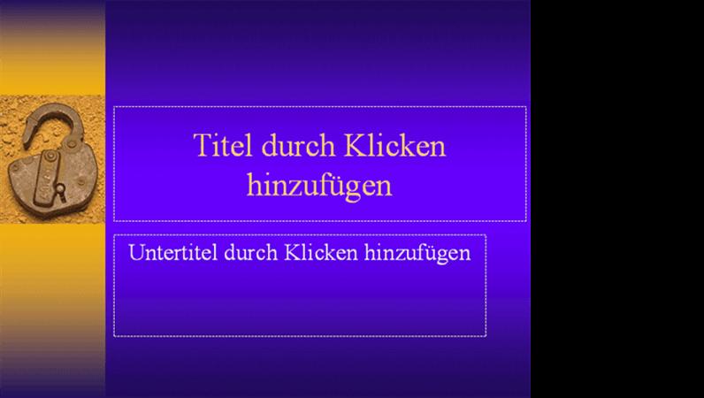 """Entwurfsvorlage """"Schlüssel und Schloss"""""""