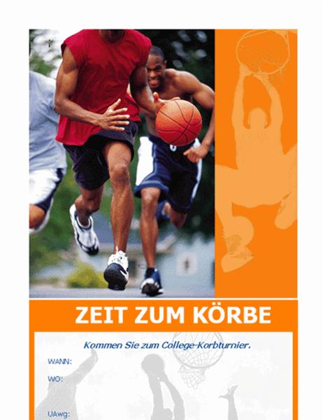 Einladung zu einer Basketball-Party (Handzettel)