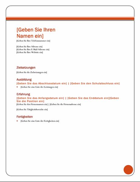 "Lebenslauf (Design ""Dactylos"")"