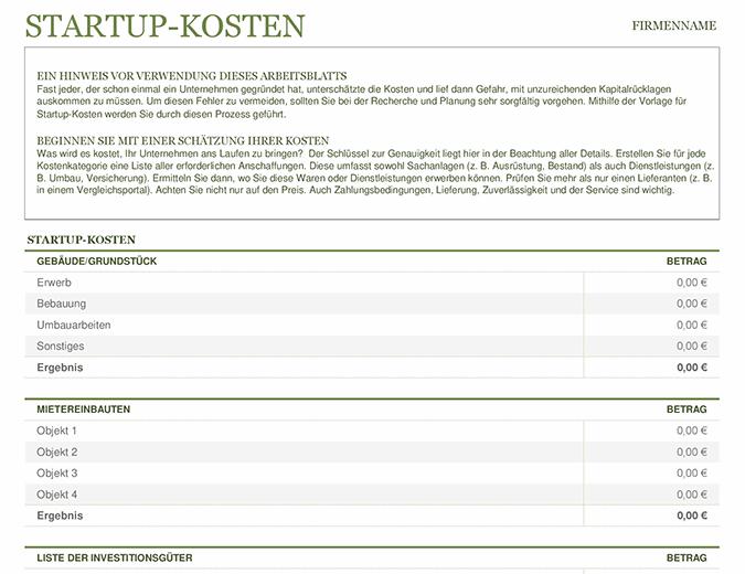 Startup-Kosten