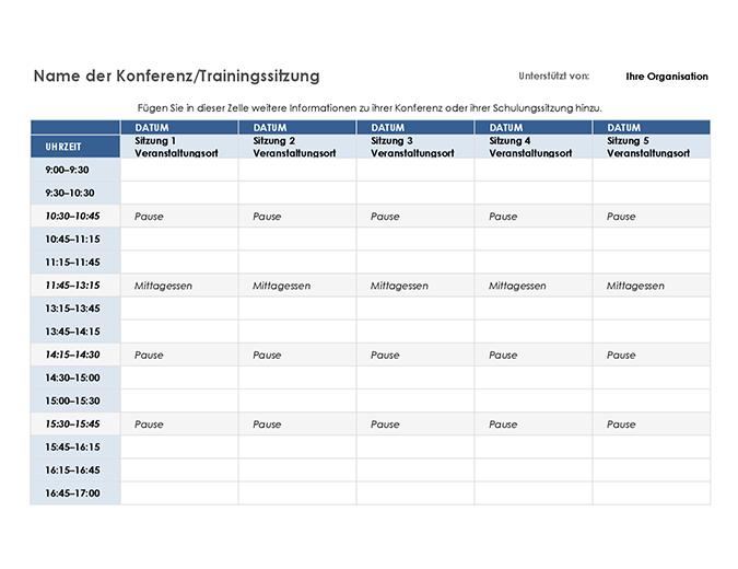Zeitplan für fünftägige Veranstaltung
