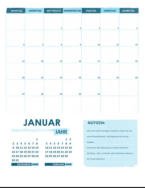 Akademischer Kalender (ein Monat, alle Jahre, Wochenanfang Montag)