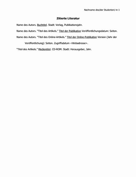 Liste zitierter Literatur im Format der Modern Language Association