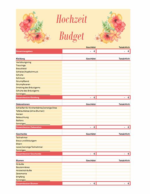 Hochzeitsbudget-Planer