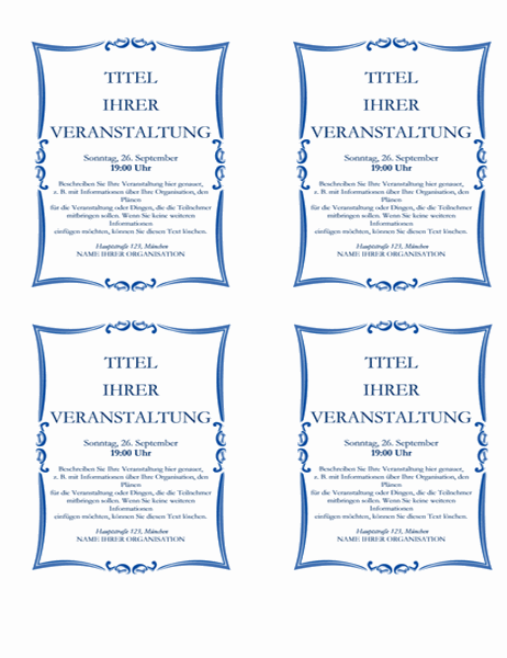 Handzettel für eine Veranstaltung (4-up)