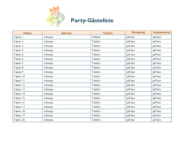 Party-Gästeliste