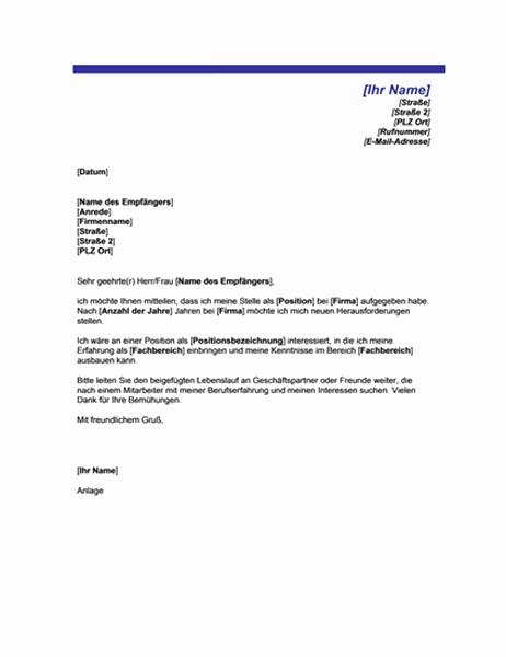 Brief anlässlich der Suche einer neuen Arbeitsstelle (mit blauer Linie)