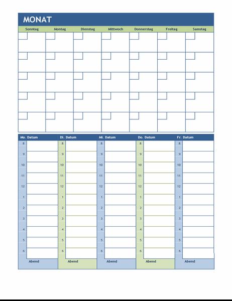 Monatlicher und wöchentlicher Planungskalender