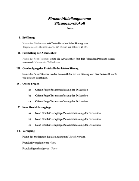 Formelles Sitzungsprotokoll