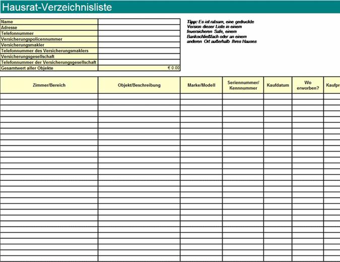 Hausrat-Verzeichnisliste