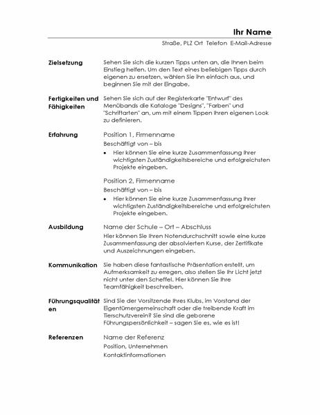 Qualifikationsbezogener Lebenslauf (minimalistisches Design)