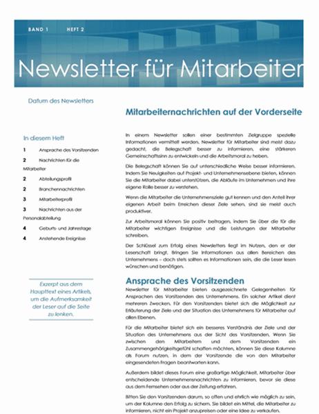 Newsletter für Mitarbeiter