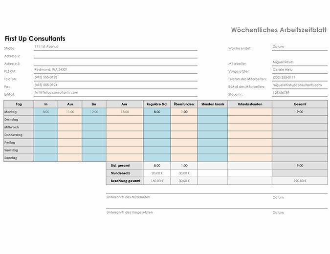 Wöchentliche Arbeitszeittabelle (A4, Querformat)