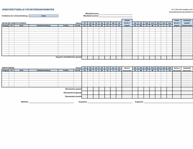 Zeiterfassungskarte für Betriebsmitarbeiter
