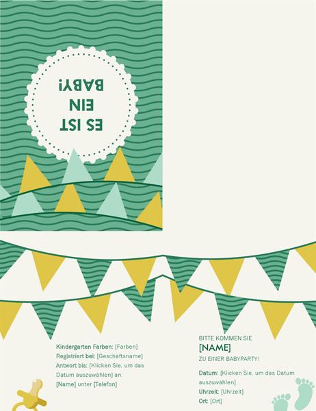 Einladung für Babyparty mit UAWG