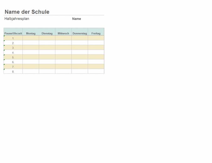 Stundenplan für eine Unterrichtswoche