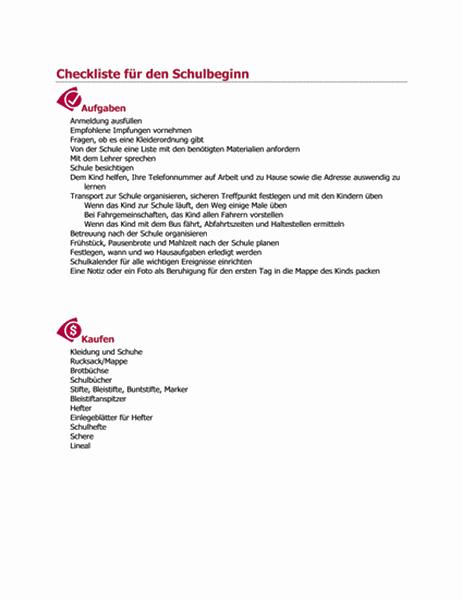 Checkliste für den Schulbeginn