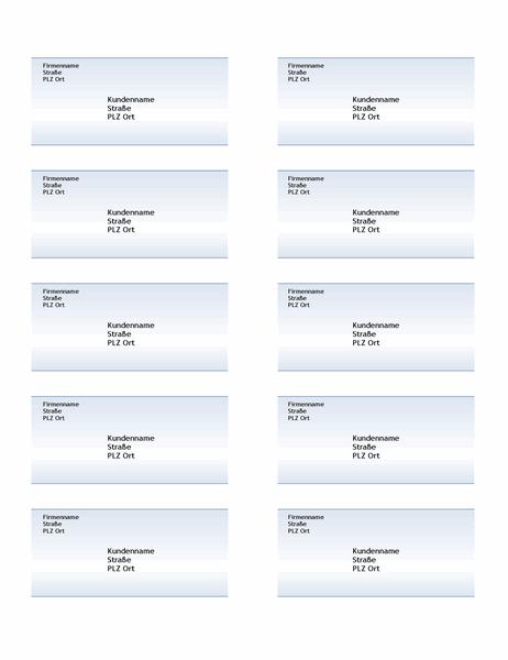 Versandetiketten (Design mit blauem Farbverlauf, 10 pro Seite)