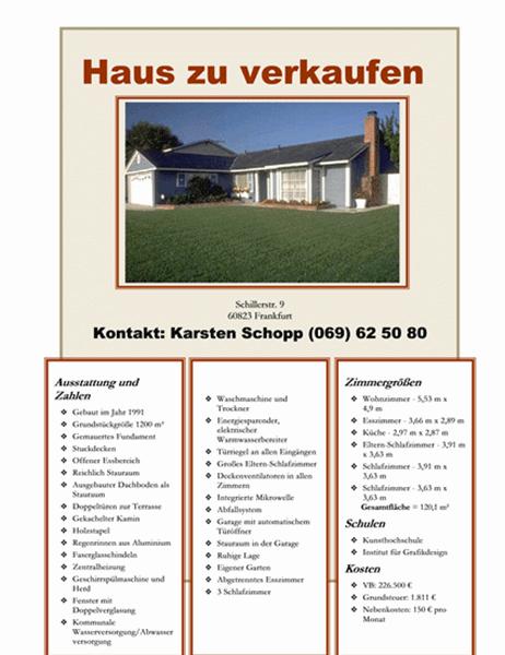 Handzettel für Hausverkauf mit Foto, Umgebungskarte und Grundriss