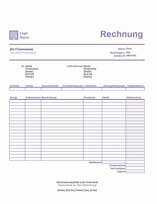 """Verkaufsrechnung (Design """"Einfache Linien"""")"""