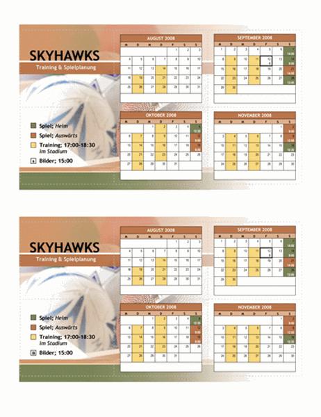 Taschenkalender 2008 für Jugendsport (Herbst)