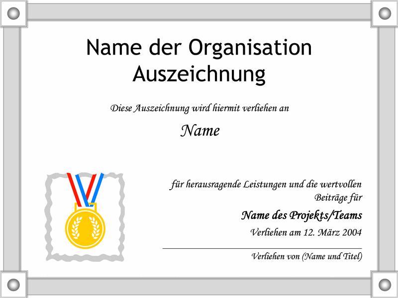 Auszeichnung für besondere Leistungen