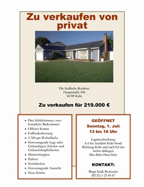 """""""Zu Verkaufen von privat""""-Handzettel"""