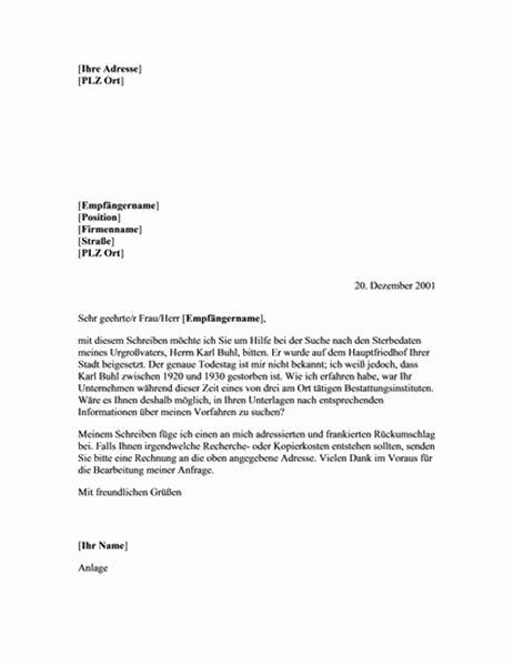 Bitte um genealogische Dokumente (Bestattungsinstitut)
