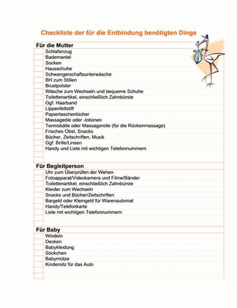 Checkliste der für eine Entbindung benötigten Dinge