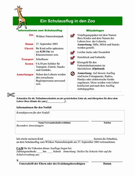 Teilnahmeerlaubnis der Eltern für Schulausflug