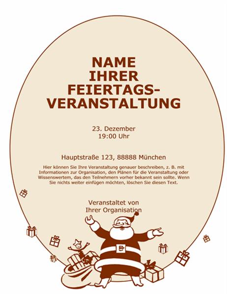 Handzettel mit Weihnachtsmann