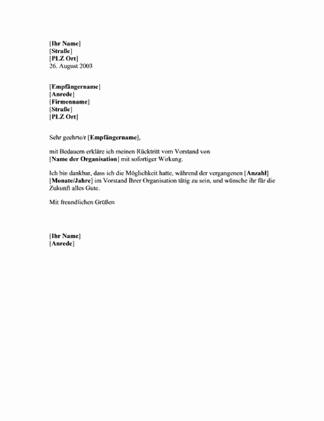 Rücktrittsschreiben eines Vorstands