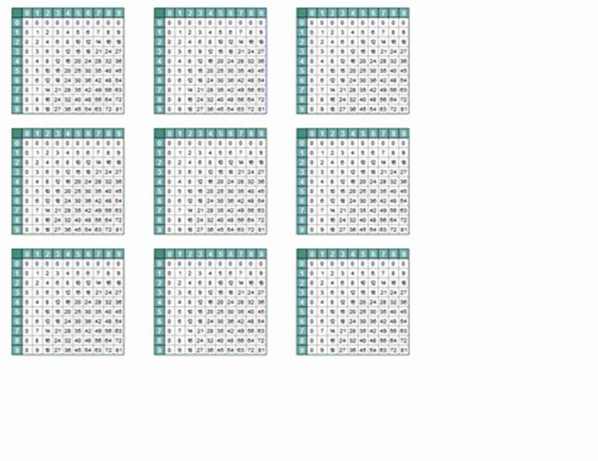 Multiplikationstabellen (9 pro Seite)