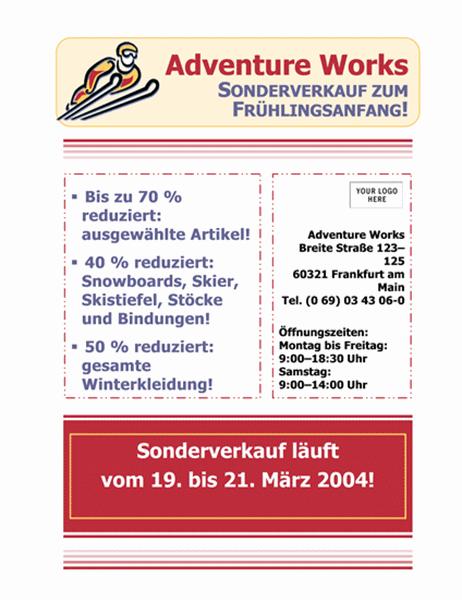 "Handzettel ""Sonderverkauf"" (21,6 x 27,9 cm)"