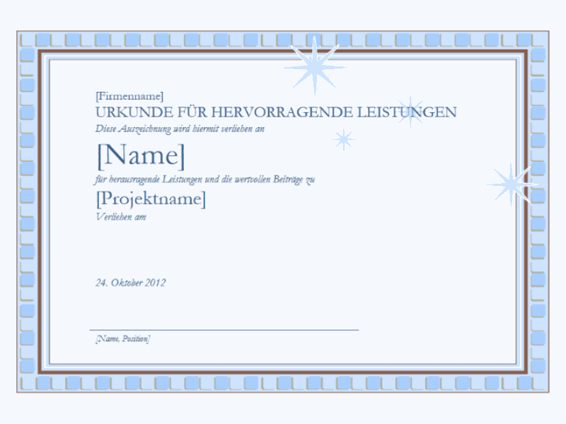 Urkunde für hervorragende Leistungen