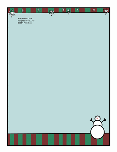 Briefpapier für die Feiertage (mit Schneemann)