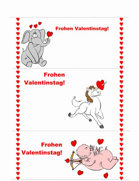 Karte zum Valentinstag (3-seitig)