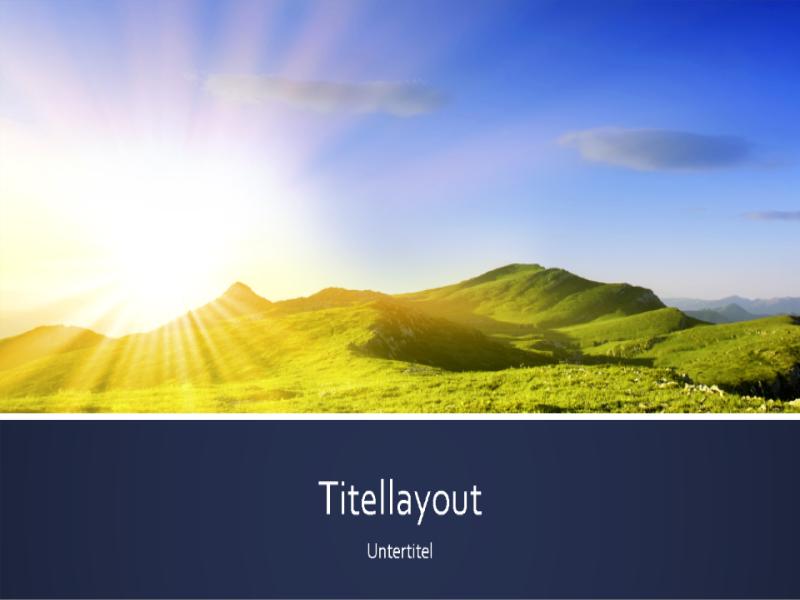 Blau bebänderte Präsentation mit dem Foto eines Sonnenaufgangs in den Bergen (Breitbild)