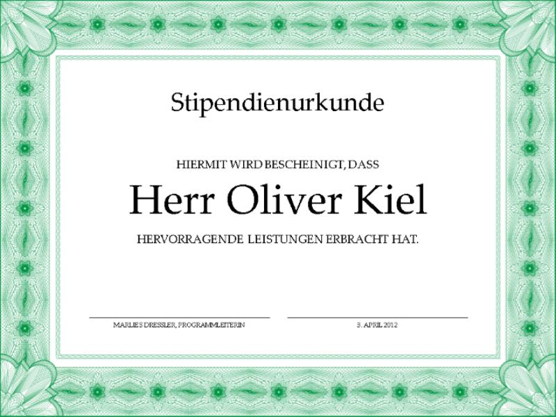 Stipendienurkunde (formeller grüner Rahmen)