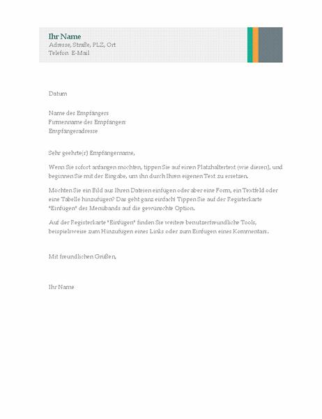 """Geschäftsbrief (Design """"Verkauf mit Streifen"""")"""