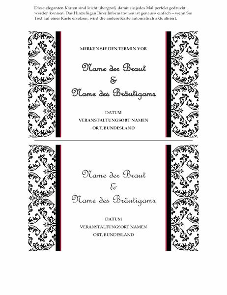 Hochzeits-Terminankündigung (Schwarzweißes Hochzeitsdesign)